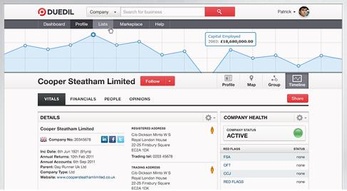 Browse companies house webcheck via Duedil